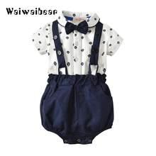 a311af53f Bebé Caballero ropa establece trajes de verano para niño niños partido  Formal arco body Set infantil ropa