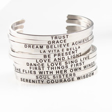 Mantra Bracelet Stainless Steel Engraved Inspirational Bangle Width 4mm Cuff