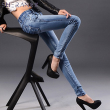 2018 new women's casual slim high waist jeans for women fashion boyfriend jeans for women skinny mid waist stretch pencil pants
