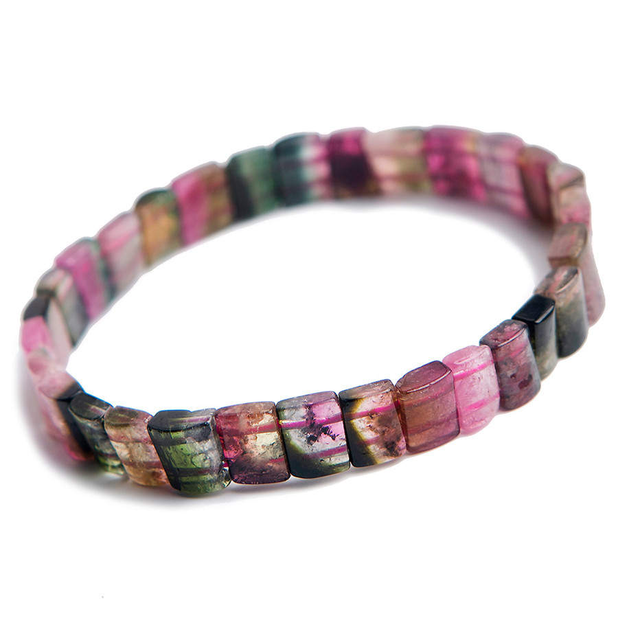 Woman Lady Stretch Crystal Rectangle Beads Bracelet 8*4mm Genuine Colorful Natural Tourmaline Bracelet Drop ShippingWoman Lady Stretch Crystal Rectangle Beads Bracelet 8*4mm Genuine Colorful Natural Tourmaline Bracelet Drop Shipping