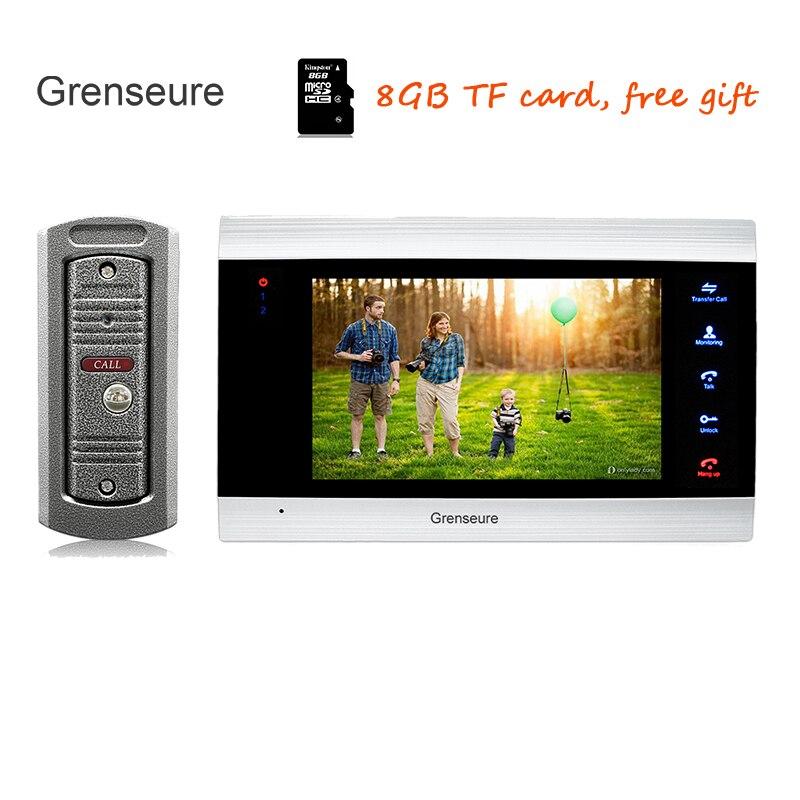 Free Shipping 720P AHD HD 7 Color Screen Video Intercom Door Phone Recording System + Metal Outdoor Camera Unlock Monitor + 8G