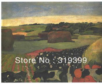 Oil Painting Reproduction on Linen canvas,Haystacks in Brittany by paul gauguin,100% handmade oil painting,free DHL Shipping