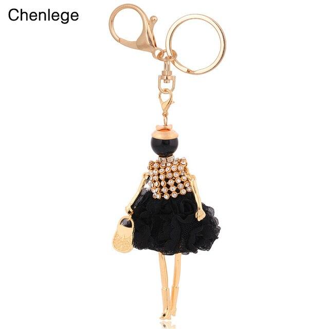 Chenlege novos chegada mulheres encantos encantos da corrente chave titular anel chave chaveiros fashion girl jóias das senhoras boneca chaveiros KC0054