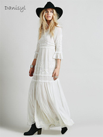 Women Embroidery Lace Engagement Party White Bohe Bohemian Maxi Dresses Half Sleeve Vintage Floor Length Bridesmaid