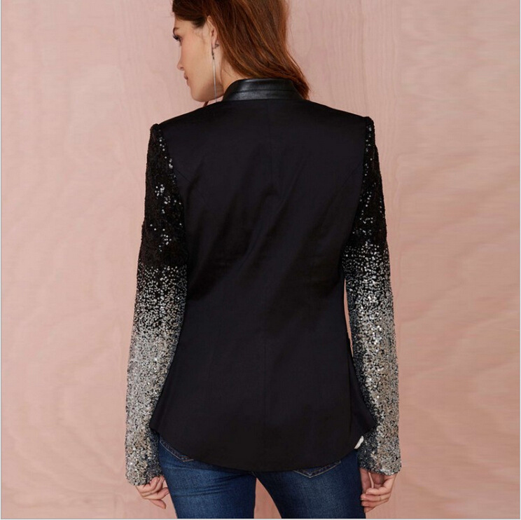 Mr.Nut Sequin Stitching Single Button Slim Slimming Black Women's Small Suit Patchwork Office Lady Women Blazers And Jackets