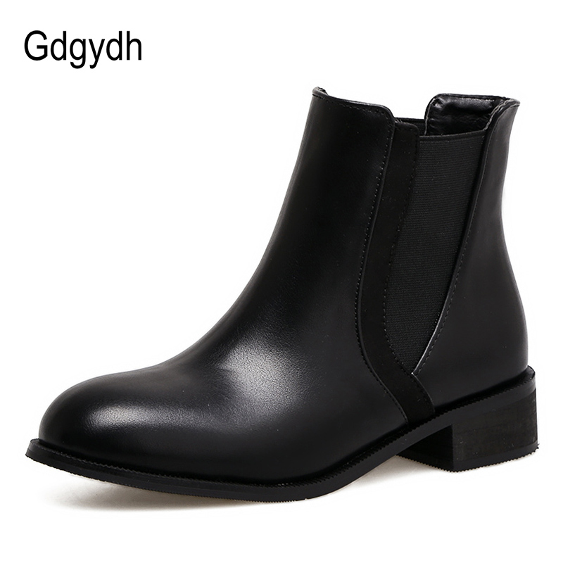 Bottes Chaussures Talons Gdgydh Cuir Bas Rond Occasionnel Automne Mode Femmes Printemps Promotion Cheville Bout Vente Shoes Black En Femelle wwg6qtzr
