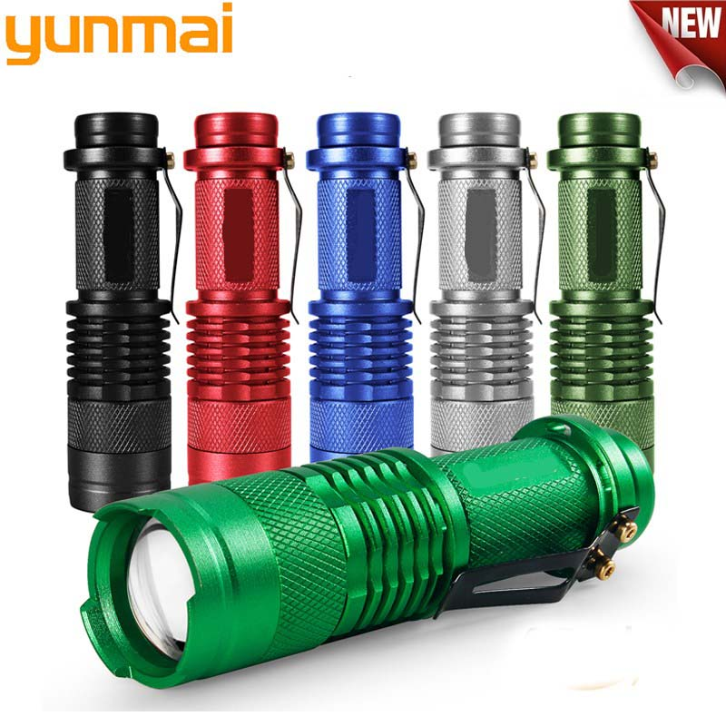 3 Modes Adjustable Mini LED Flashlight 6 Colors 2000lm LED Torch Zoom Focus Torch Lamp Penlight Waterproof Use AA/14500 battery