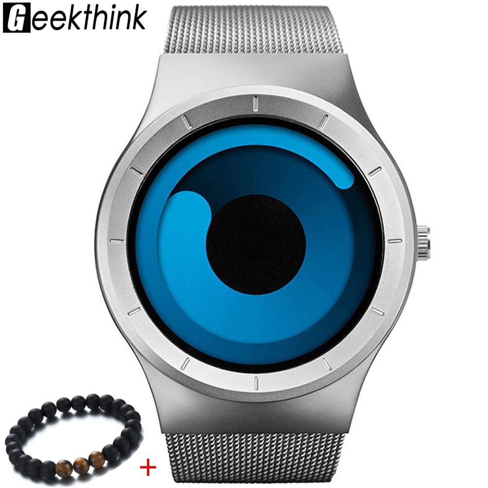 GEEKTHINK 2018 New Quartz Watch Women Mens Watches Top Brand Luxury Stainless Steel Watches Mesh Belt Rotary Dial Wristwatch Men didun mens watches top brand luxury watches men steel quartz brand watches men business watch luminous wristwatch water resist