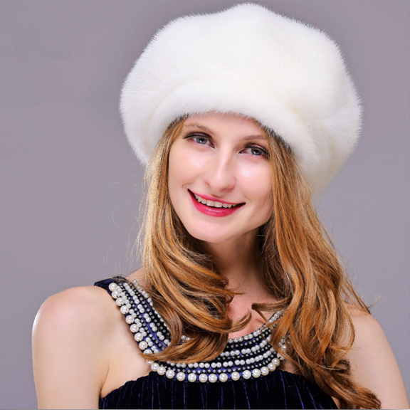 HM025 women's winter hats Real genuine mink  fur hat  winter women's warm caps whole piece mink fur hats mink skullies beanies hats knitted hat women 5pcs lot 2299