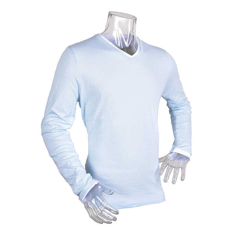 2019 春秋固体フェイクツーピーススリムフィット V ネック Tシャツ男性のセーターの学生ロードされた Tシャツトップカジュアルメンズロングスリーブ