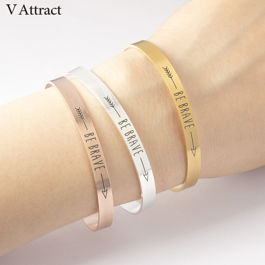 V Attract 2017 Inspiration Rose Gold Be Brave Cuff Bracelets & Bangles For Women Men Jewelry Graduation Stainless Steel Pulseira