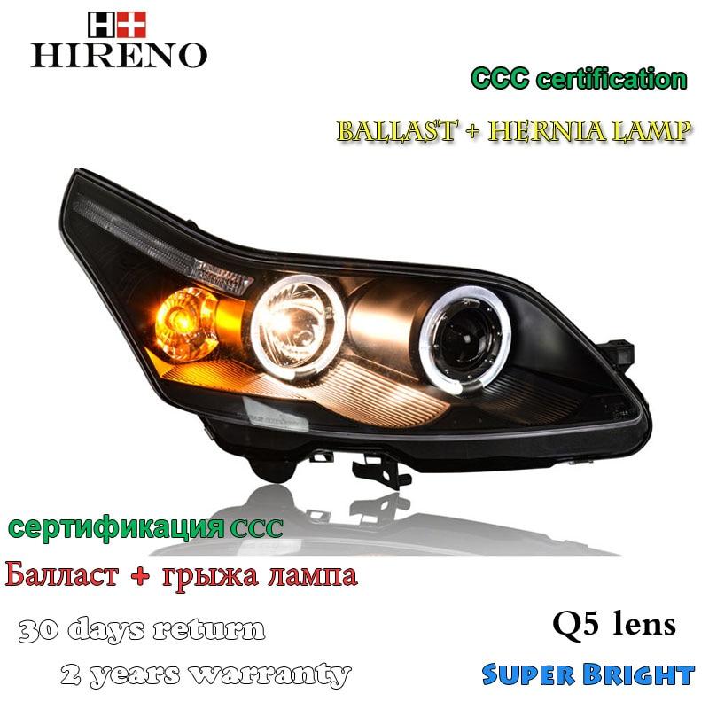 Hireno Headlamp for 2008-2011 Citroen C4 Headlight Assembly LED DRL Angel Lens Double Beam HID Xenon 2pcs 2pcs purple blue red green led demon eyes for bixenon projector lens hella5 q5 2 5inch and 3 0inch headlight angel devil demon