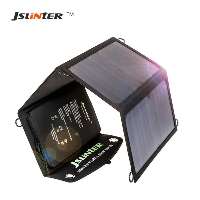 JSLINTER Dual USB Outputs Solar Panel Phone Charger 5V 24W 2.4A Flexible Solar Cell Battery for iphone samsung HTC Tablet PC