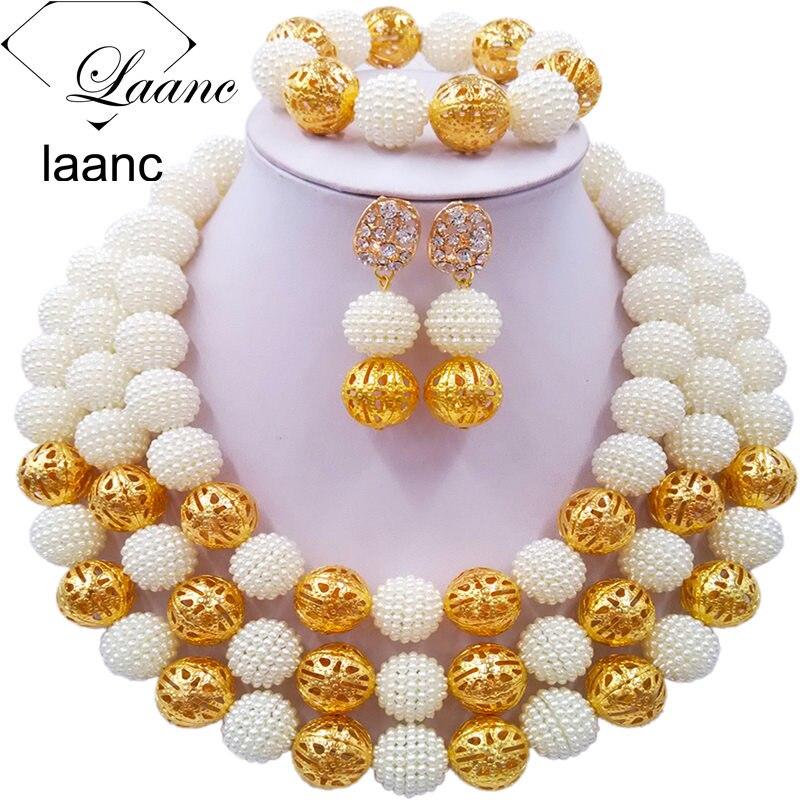 Laanc Fashion White African Beads Necklace Jewelry Set Nigerian Wedding Indian Bridal Jewelry Sets 3CZJ005Laanc Fashion White African Beads Necklace Jewelry Set Nigerian Wedding Indian Bridal Jewelry Sets 3CZJ005
