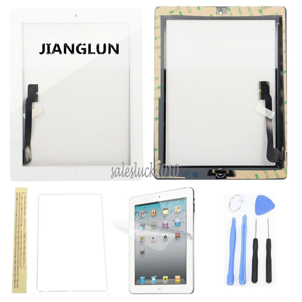 JIANGLUN White Front Touch Screen Digitizer Glass +Home Flex +Adhesive For iPad 3 3rd Gen tablet touch flex cable for microsoft surface pro 4 touch screen digitizer flex cable replacement repair fix part