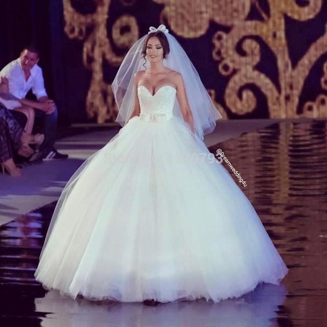 68cfb061b789 Ball Gown Luxury Crystal Princess Style Wedding Dresses Sweetheart Bow Sash  White Organza Wedding Dress Plus Size Casamento