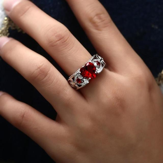 New Fashion Silver Natural Birthstone Bride Wedding Engagement Heart Ring Delicate Drop shipping N-24