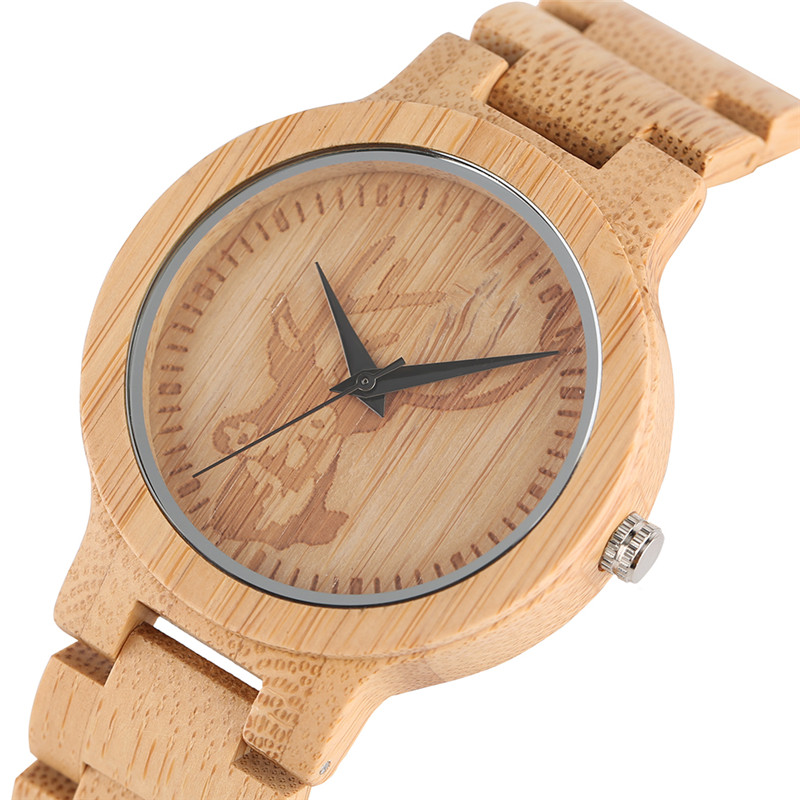 Deer Mens Watches Animal Wooden Quartz Watch Nature Handmade Bamboo Chain Strap Womens Wristwatches Elk Head Engrave For Gift 4 design bronze vintage quartz pocket watch free mason sword art online gear necklace pendant chain womens mens gifts p1123