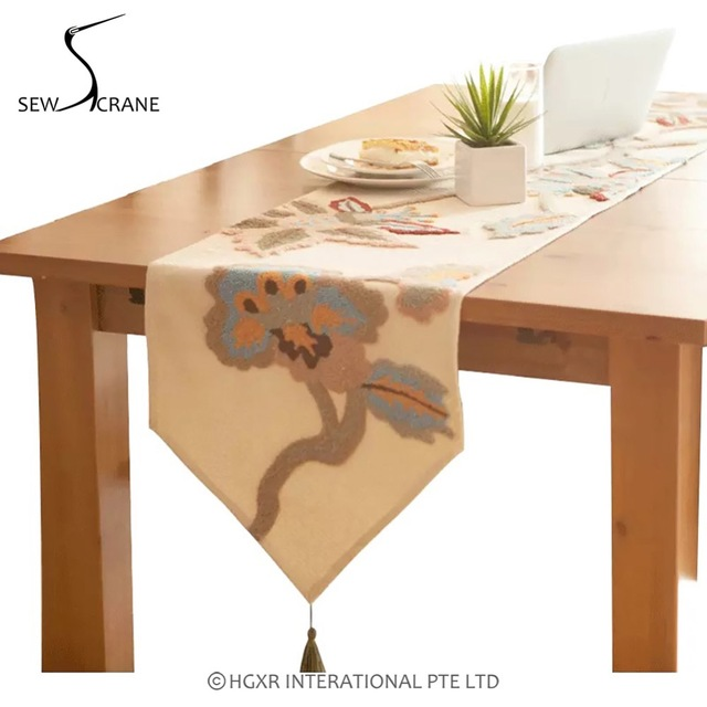 SewCrane Honeycomb Fabric Floral Embroidered Design Rectangle Pointed Table  Runner With Tassel, Tan Color