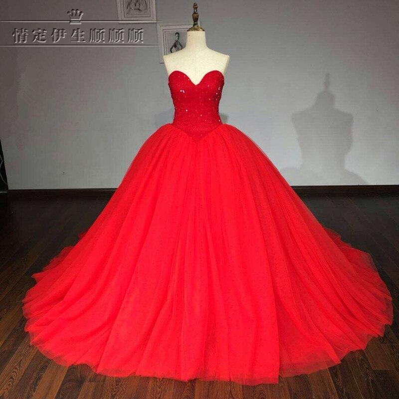 Real Photo Vestidos De Novia 2017 Red font b Wedding b font Dresses Beaded Princess Ball