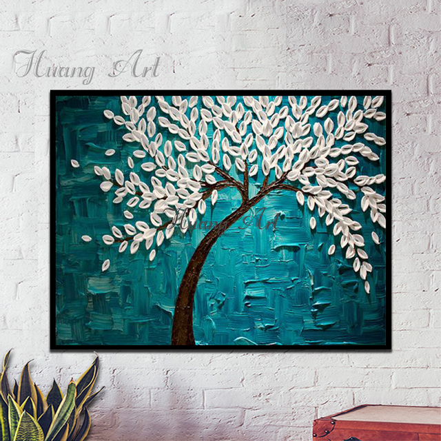 Hand Painted Oil Painting White Three Dimensional Fortune Making Tree Modern Minimalist Blue Tune Living