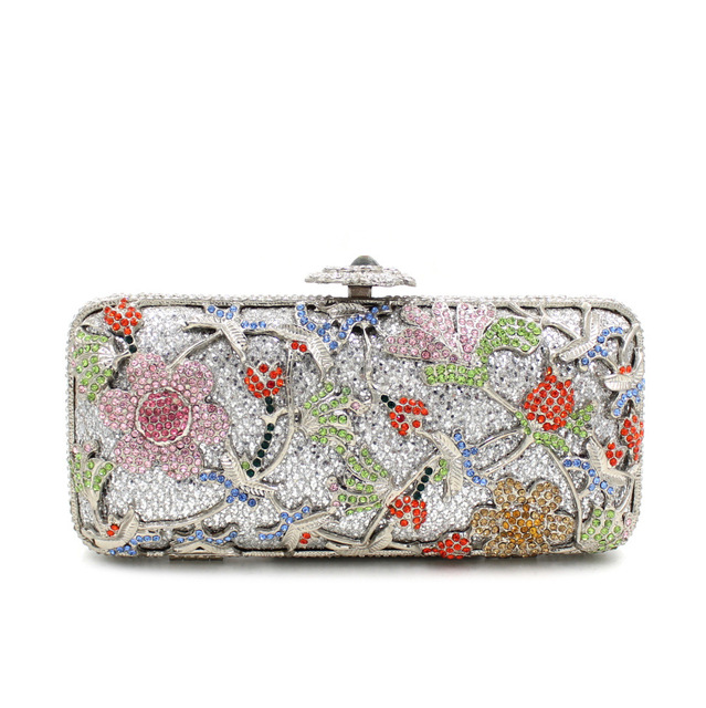 Flower Square Crystal Evening Bags Golden Silver Black Las Clutch Purses Uk Free Ship Gold