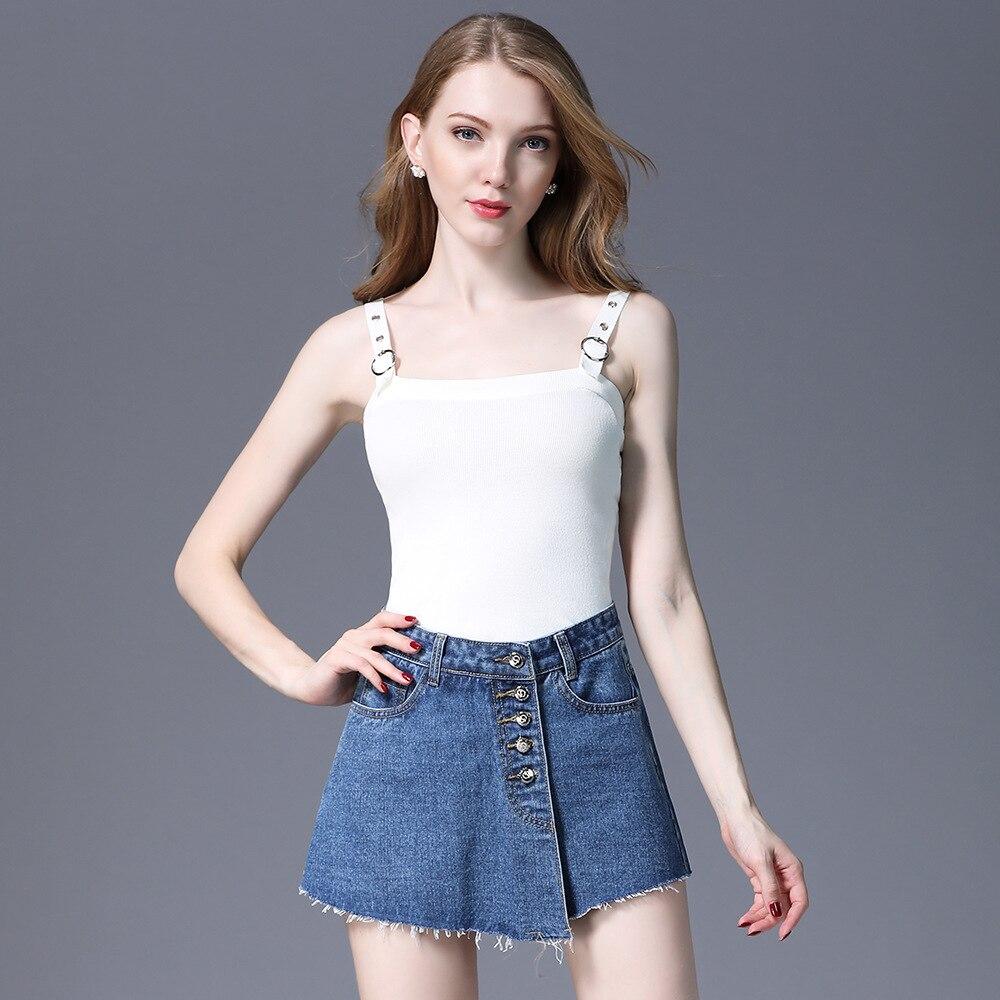 Women's summer new cotton high waist wide leg shorts skirt Street hipsters buckle anti light A word denim short sleeve