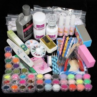 Manicure Kit Nail Decoration 42 Acrylic Nail Art Tips Powder Liquid Brush Glitter Clipper Primer File Set Nail Art Tools