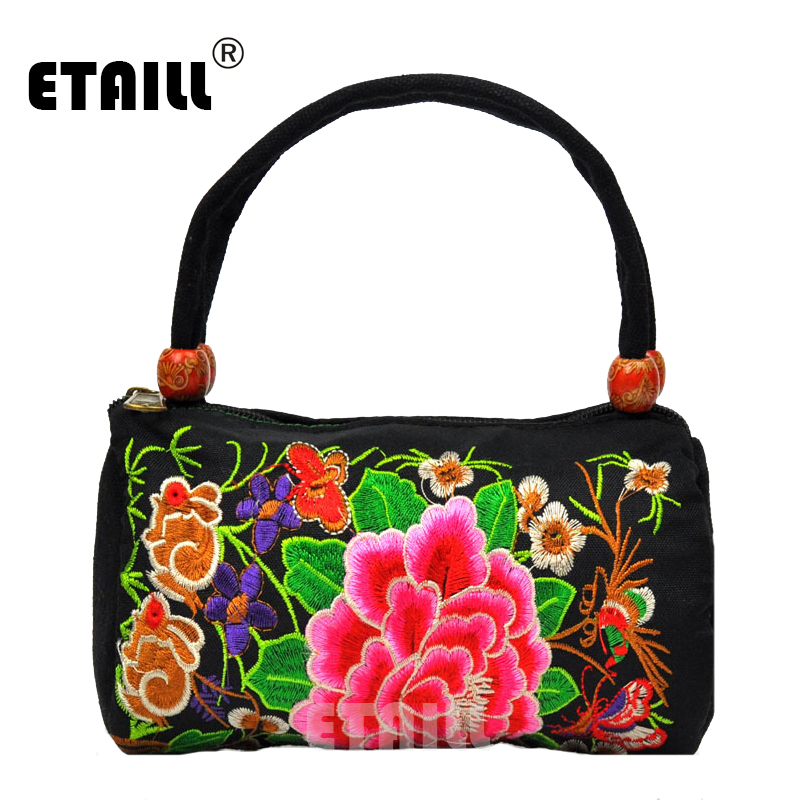 ETAILL Vintage Embroidery Cylindrical Tote Bag Hmong Shoulder Messenger Bag Embroidered Yunnan Clutch Crossbody Small Handbag tote bag