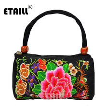 цены ETAILL Vintage Embroidery Cylindrical Tote Bag Hmong Shoulder Messenger Bag Embroidered Yunnan Clutch Crossbody Small Handbag
