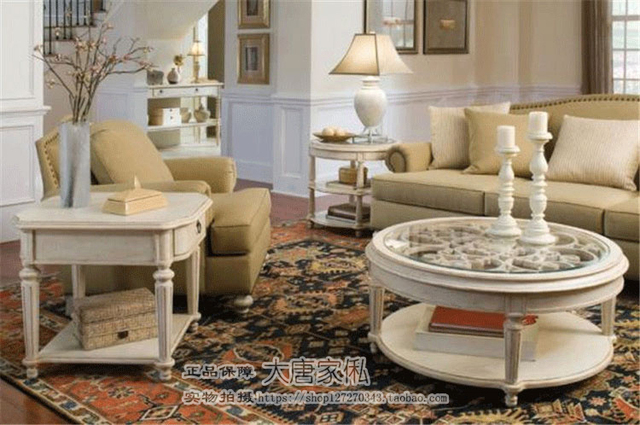 Continental Carved Wood Coffee Table Round Coffee Table American  Neo Classical Double Coffee Table Furniture Luxury Villa Club