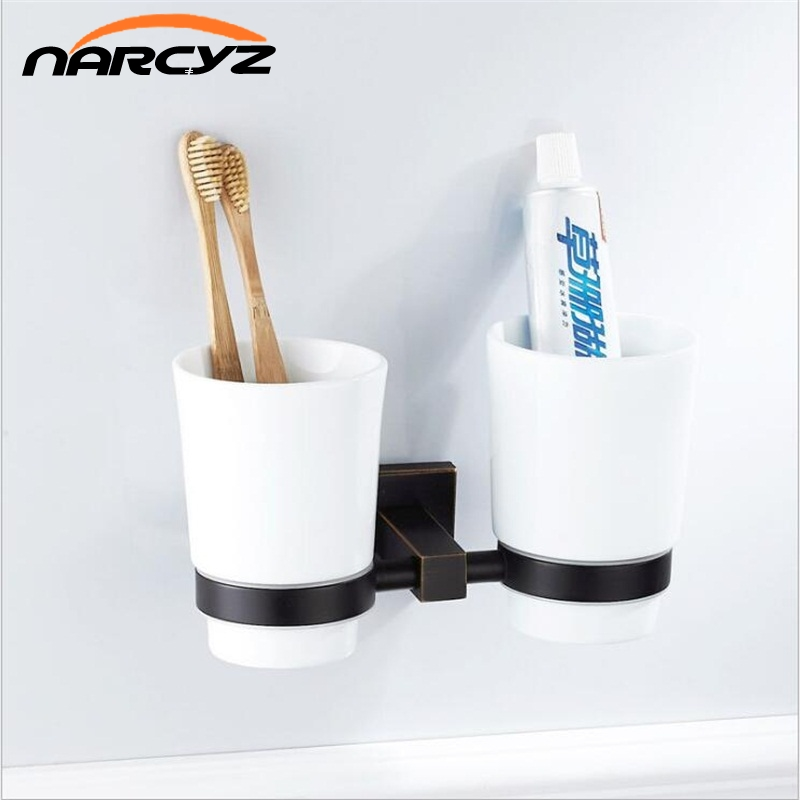 Black bathroom hardware pendant copper material black bronze rinse cup ceramic cup holder double cup holder 9037K heavy bullet head bobbin holder with ceramic tube tip protecting lines brass copper material