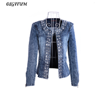 OLGITUM 2019 Retro Jackets Women Coat With Rivets Female Jacket Slim Denim Jackets Outerwear Coats Classical Rhinestone Sequins