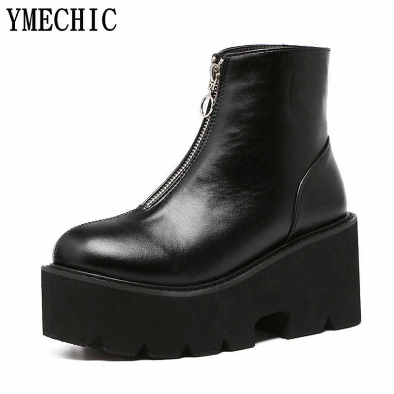 YMECHIC 2018 Nền Tảng Mùa Đông Punk Đen Phụ Nữ Khởi Động Dây Kéo Nêm Gothic Giày Mắt Cá Chân Khởi Động Cộng Với Kích Thước Chunky Gót Khởi Động Giày Dép
