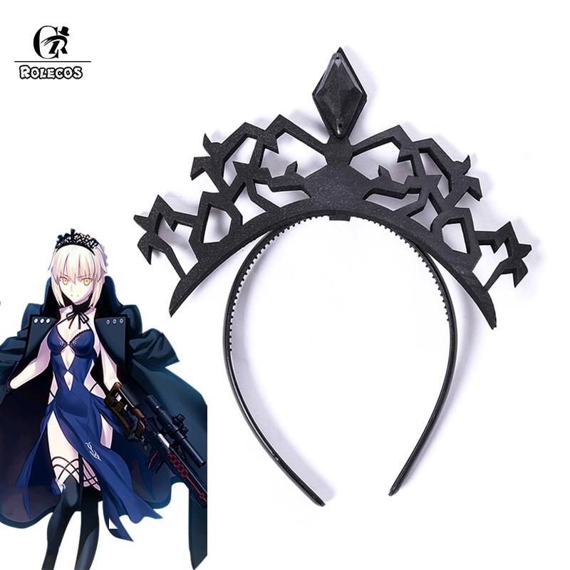 ROLECOS Altria Pendragon Saber Cosplay Headwear Saber Crown Black Hair Clasp Game Fate Anime Cosplay Headwear