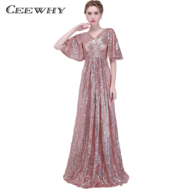 CEEWHY Ruffles Half Sleeve Sequined Prom Dresses Formal Gown V-Neck ...