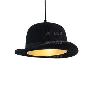 Image 4 - צמר הרגיש כובע תליון אור בעבודת יד אלומיניום השעיה מנורת ג יבס וווסטר כובע תליית תאורת מלון קוטור בד חנות
