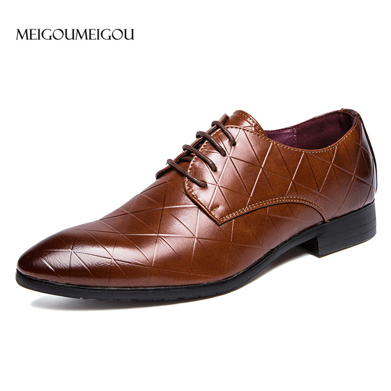 MEIGOUMEIGOU Fashion Design Men Leather Shoes Luxurious Genuine Leather Shoes Men Lace-up Casual Dress Shoes Men Business Shoes цена