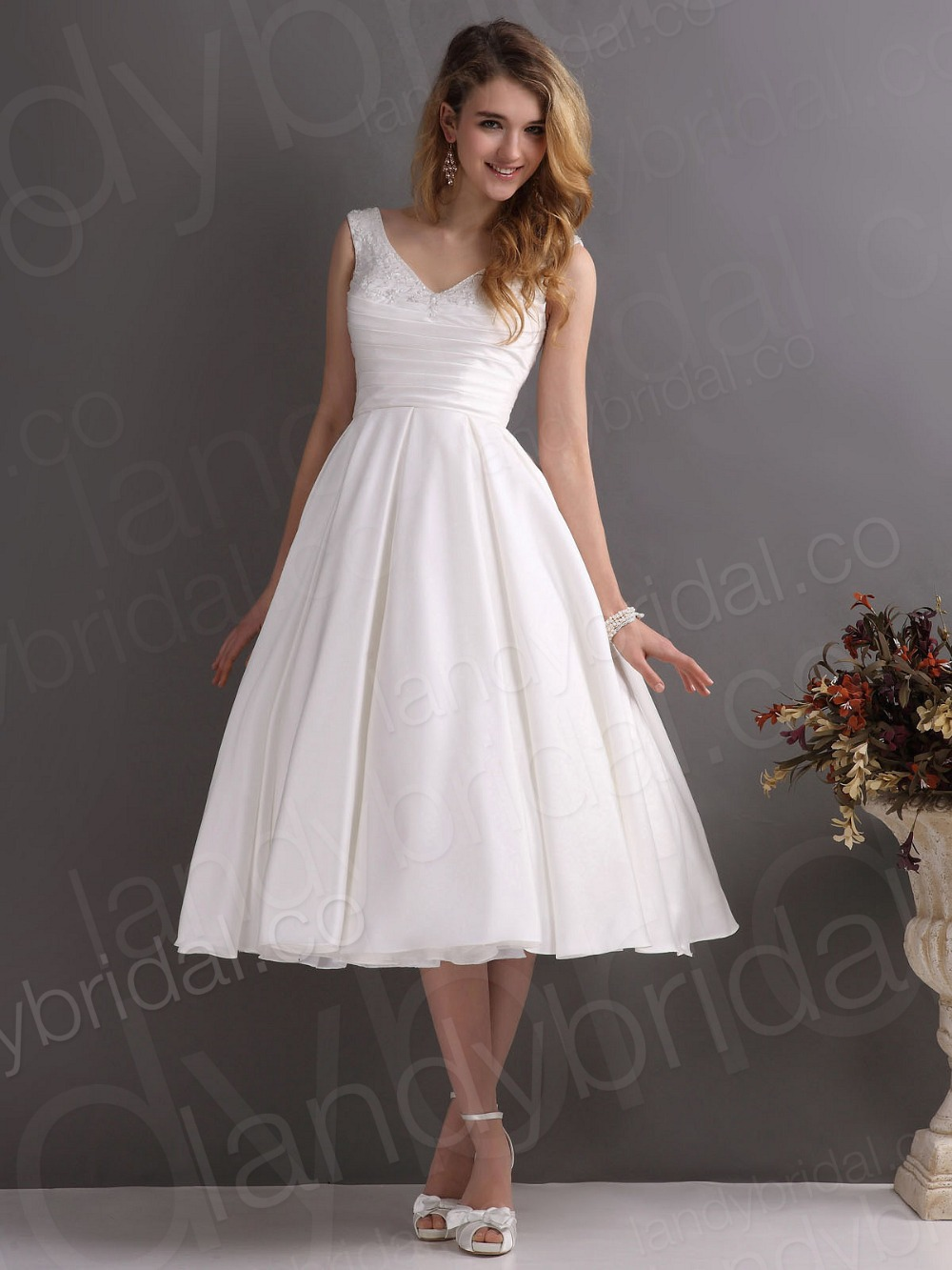 Neck Short Princess Beaded White Wedding Dresses 50s Ivory Bridal Gown Sale In From Weddings Events On Aliexpress