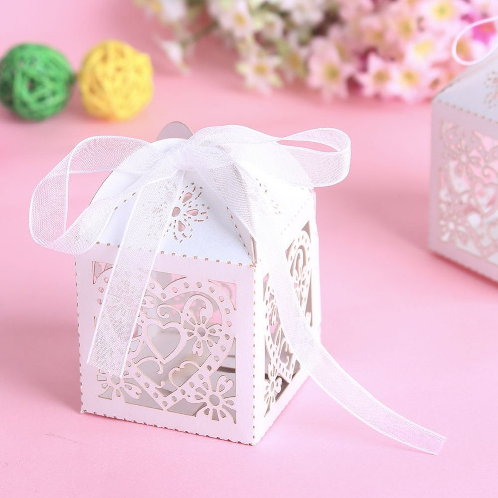 50Pcs/lot Love Heart Candy Boxes Hollow Laser Cut with Ribbon Baby ...