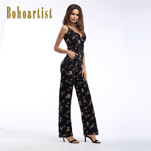 06448c82ffd Bohoartist Women s Summer Long Jumpsuit Print Flower Floral Loose Falbala  Strap Sexy Fashion Thin Straight Ladies
