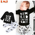 New 2016 Children Clothing Sets Fashion Baby Boys Clothes Autumn Black Letter T shirts + Feather Trousers Children Clothing Sets