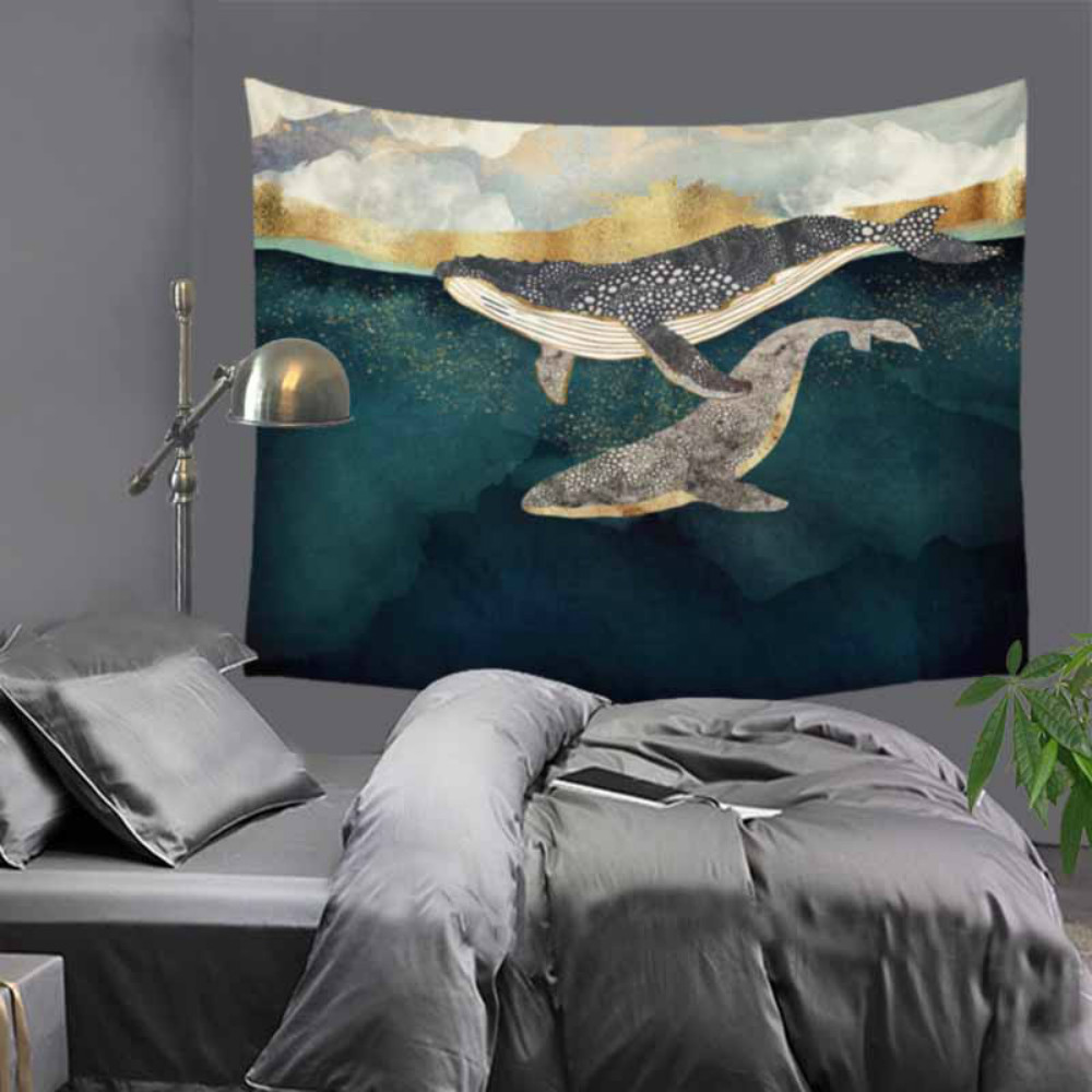 Cartoon Shark And Deer In Forest Wall Hanging Tapestry Bohemian Bedspread Dorm