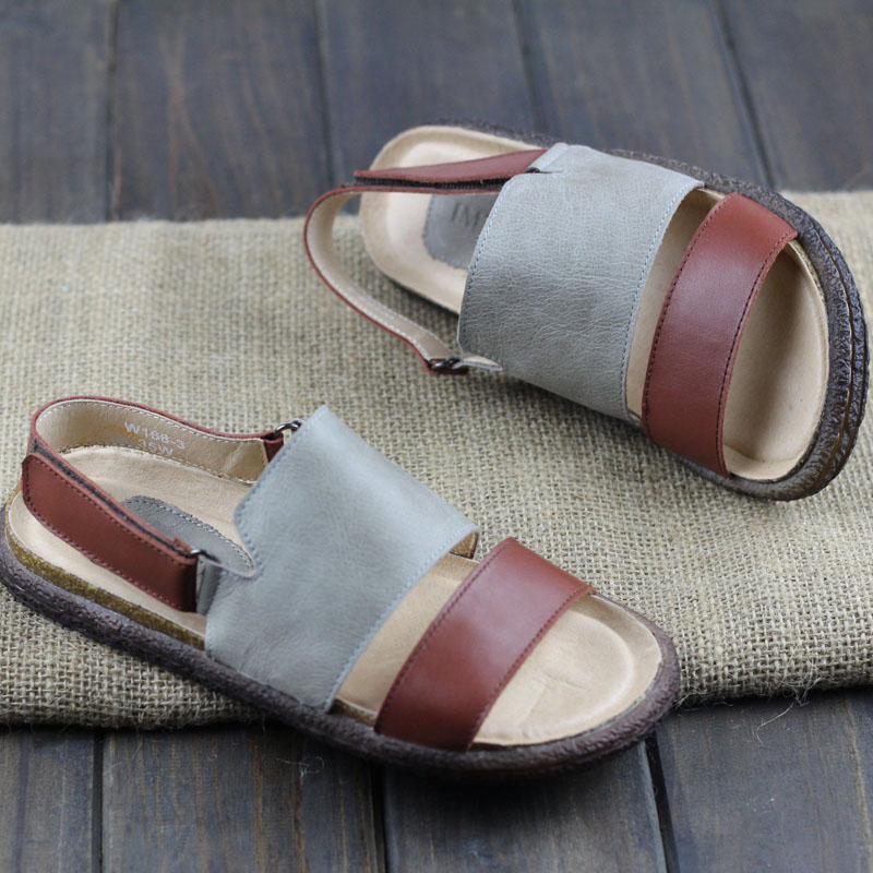 Careaymade-the first layer of cowhide leather Rome collage Japanese shoes hand genuine leather back ancient literary sandals