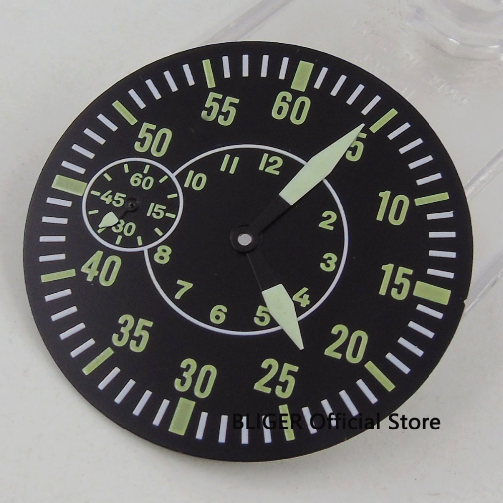 Bliger 38.9MM Green Numbers Sterile Watch Dial + Watch Hands Fit ETA 6497 ST 3600 Movement Watch Case Black Round Dial