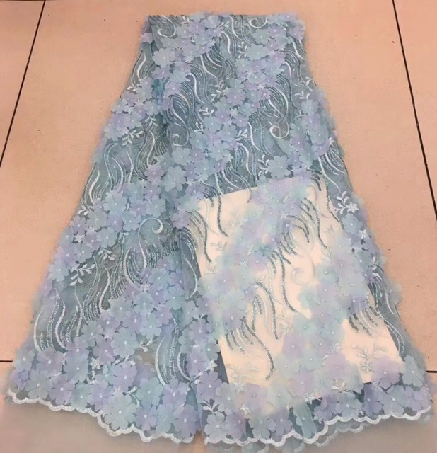 sky blue lace fabric 3d flowers tissus africains guipure tulles perlage high  quality french net lace 78e9ee6269b4