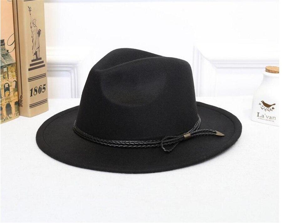 c15363a4b33f Sombrero Fedora de lana para hombre-Gorra de fieltro para mujer de invierno  de ala ancha sombreros Trilby Chapeu sombrero femenino mujeres hombres ...