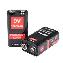 بطارية ليثيوم 9 فولت 1000 مللي أمبير في الساعة ليثيوم أيون 6F22 USB قابلة للشحن بطارية ليثيوم 9 فولت لميكرفون متعدد لعبة التحكم عن بعد