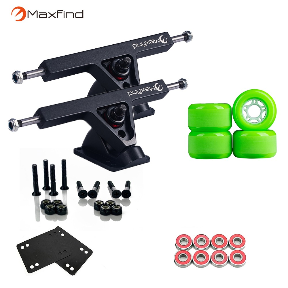 Maxfind 1 Pair 7'' Trucks, 4pcs PU Wheels, 8pcs Bearings and Enough of Steel Hardware Skateboard Truck Wheel Combo for Longboard