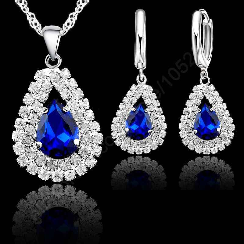 9 Colors 925 Sterling Silver Jewelry Sets For Wedding Accessory Women Bridal Water Drop Crystal Pendants Necklace Earrings Set